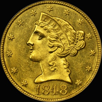 1848 $5 Charlotte