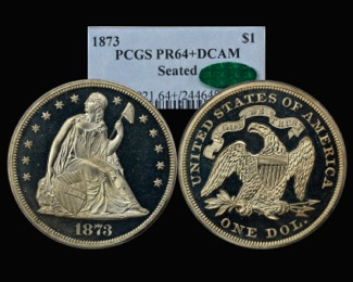 1873 Proof Seated Dollar