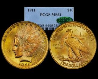 1911 $10 Gold PCGS 64