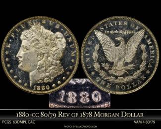 1880-CC 80/79 Vam 4 PCGS 63DMPL CAC